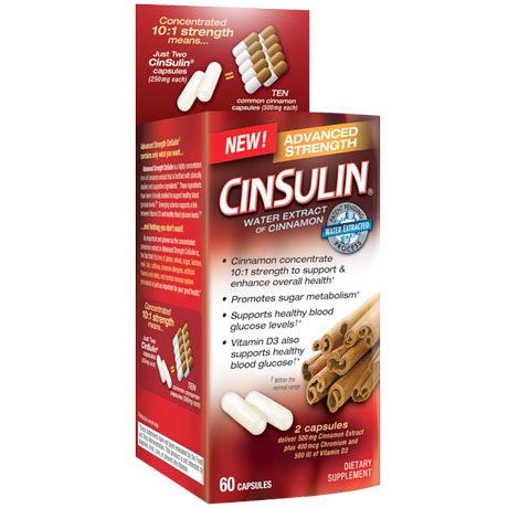 CinSulin Advanced Strength, Water Extract of Cinnamon, 60 Capsules