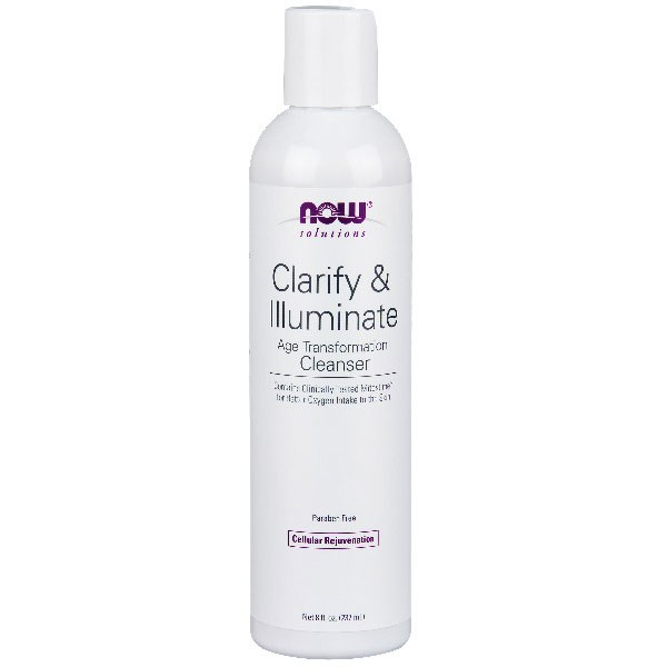 Clarify & Illuminate Cleanser, Facial Cleansing Gel, 8 oz, NOW Foods