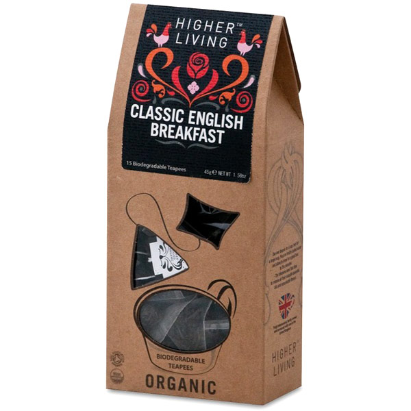Organic Classic English Breakfast Tea, 15 Biodegradable Teapees, Higher Living