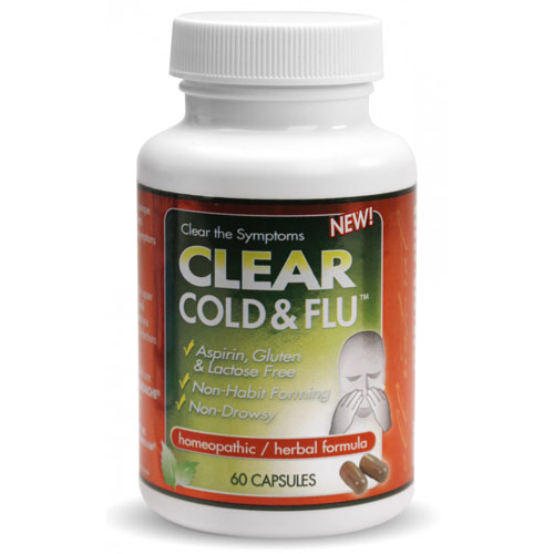 Clear Cold & Flu, Homeopathic/Herbal Formula, 60 Capsules, Clear Products