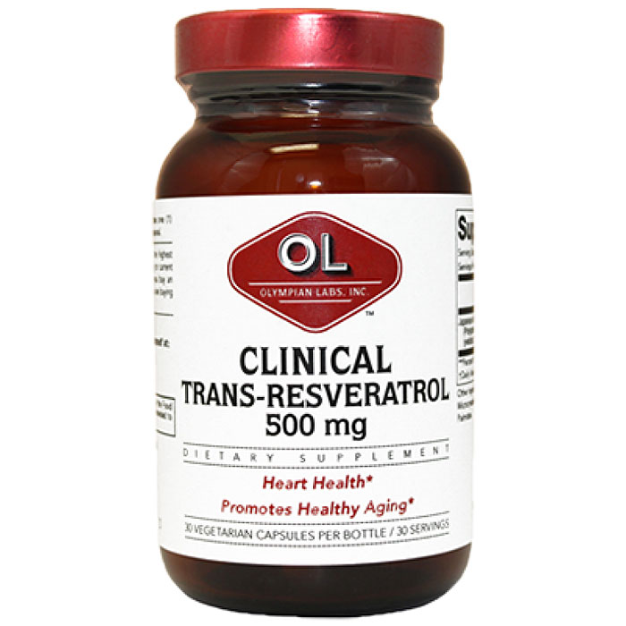 Clinical Resveratrol Extra Strength 500mg, 30 Capsules, Olympian Labs