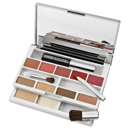Clinique Color Palette Makeup Kit (Double Face Powder, Powder Blusher, Mascara, Eye Shadow Quad, Lipstick Set)
