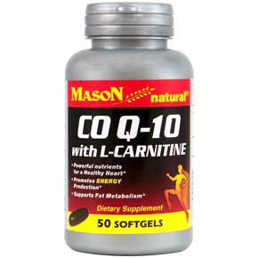 CoQ-10 Plus L-Carnitine, 50 Softgels, Mason Natural CoQ10