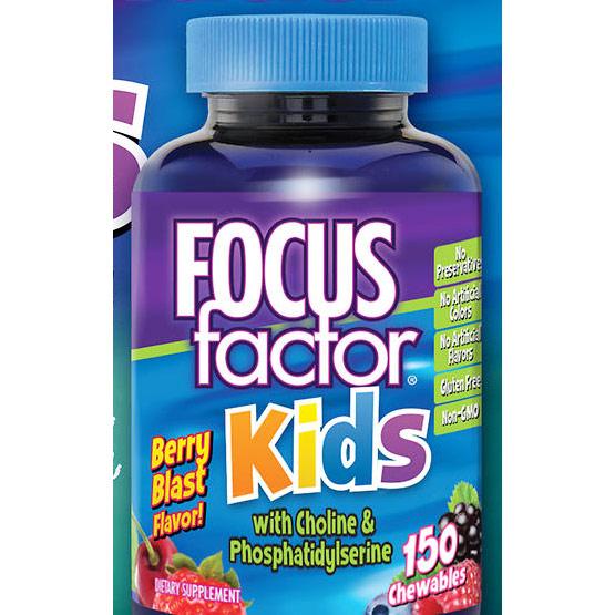 FocusFactor for Kids, Berry Blast Flavor, Childrens Supplement, 150 Chewables, Factor Nutrition Labs