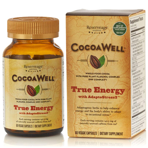 Reserveage CocoaWell True Energy with AdaptoStress3, dr oz montel williams three root tea, three root tea ashwagandha rhodiola schisandra
