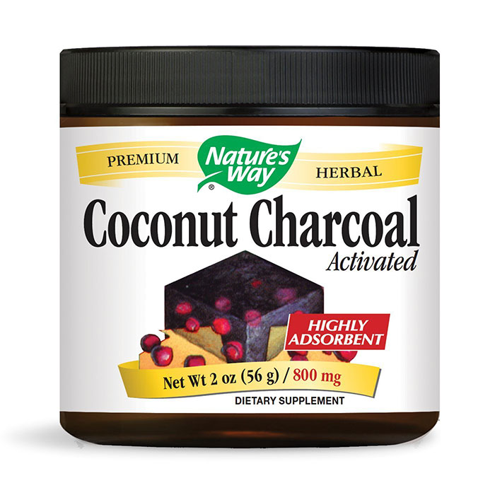 Coconut Charcoal Activated Powder, 2 oz, Natures Way