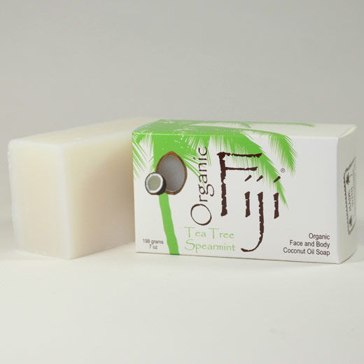 Organic Coconut Oil Soap Bar, Tea Tree Spearmint, 7 oz, Organic Fiji