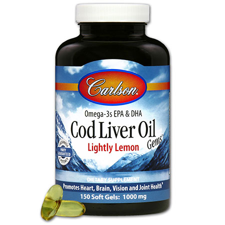 Norwegian Cod Liver Oil 1000 mg, Lightly Lemon, 150 Softgels, Carlson Labs