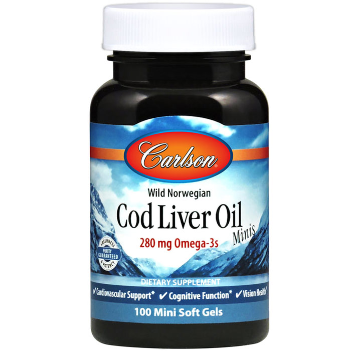 Norwegian Cod Liver Oil, 374 mg 100 small softgels, Carlson Labs