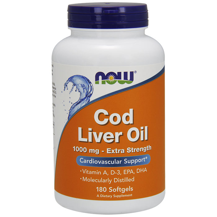 Cod Liver Oil Extra Strength 1000 mg, 180 Softgels, NOW Foods