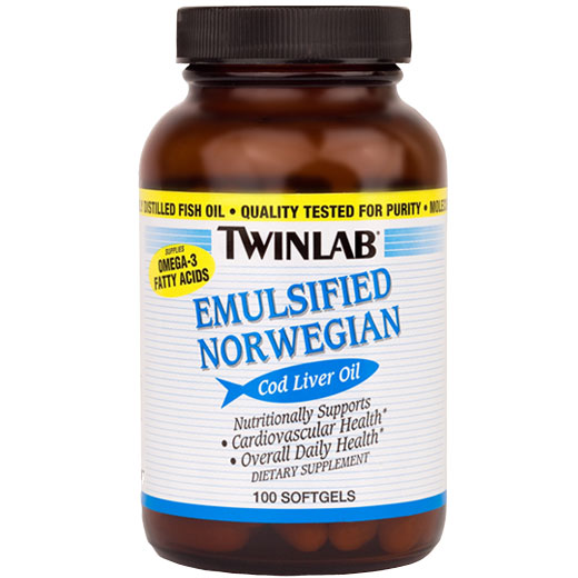 Emulsified Norwegian Cod Liver Oil, 100 Softgels from Twinlab