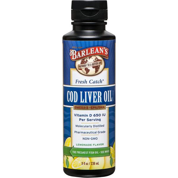 Fresh Catch Cod Liver Oil Liquid, Lemonade Flavor, 8 oz, Barleans Organic Oils
