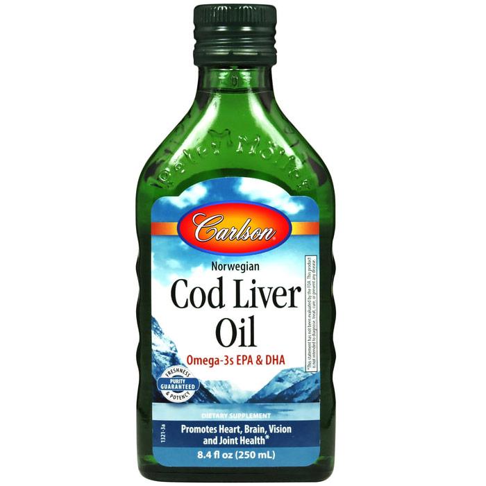 Cod Liver Oil Liquid, Regular Flavor, 500ml, Carlson Labs