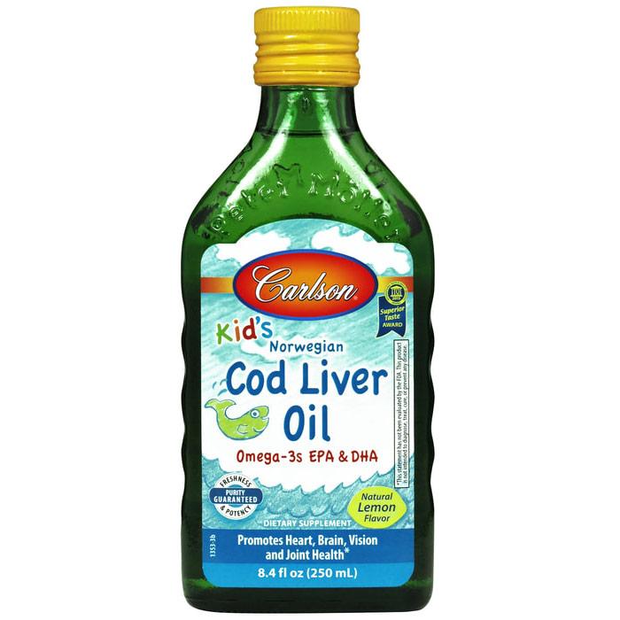 Cod Liver Oil Liquid for Kids, Lemon Flavor, 250ml, Carlson Labs