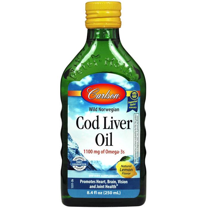 Cod Liver Oil Liquid, Lemon Flavor, 250ml, Carlson Labs