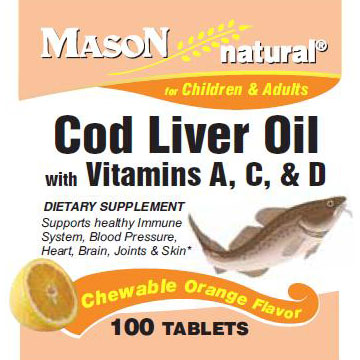 Cod Liver Oil with Vitamin A, C & D, Chewable Orange Flavor, 100 Tablets, Mason Natural