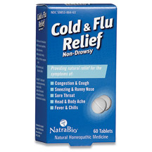 Cold and Flu Relief 60 tabs, NatraBio (Natra-Bio)