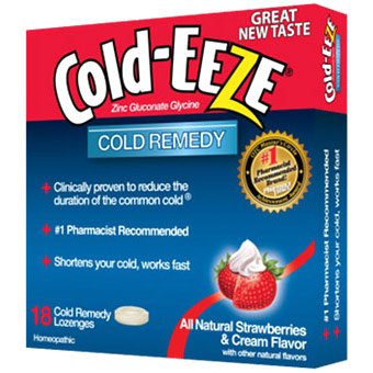Cold Remedy Lozenges, Strawberries & Cream, 18 Lozenges, Cold-EEZE Homeopathic