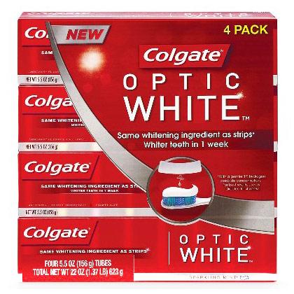 Colgate Optic White Toothpaste, 5.5 oz x 4 Pack
