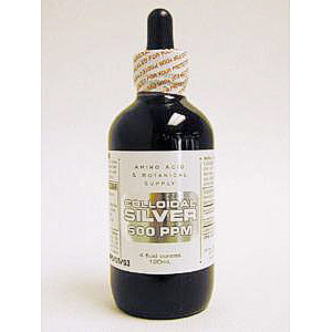 Colloidal Silver 500 PPM, 8 oz, Amino Acid & Botanical Supply