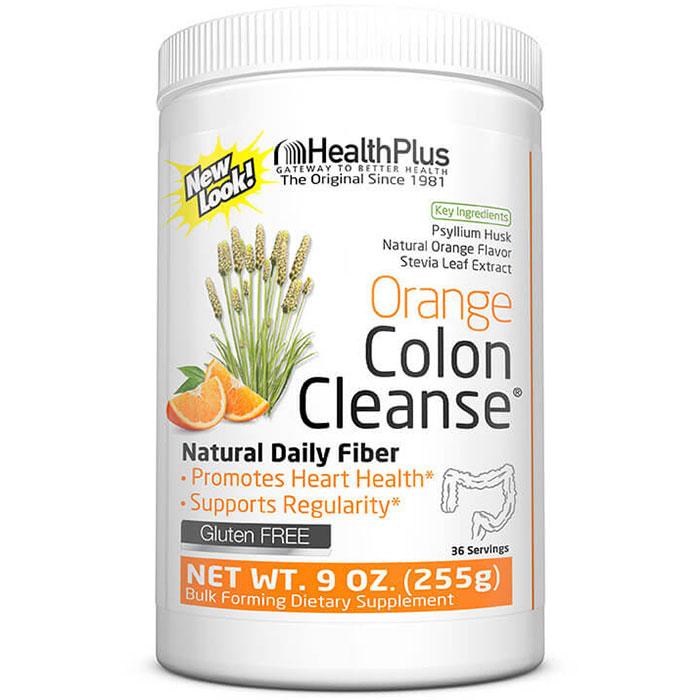 Colon Cleanse Powder - Natural Orange Flavor, 9 oz (36 Servings), Health Plus Inc.
