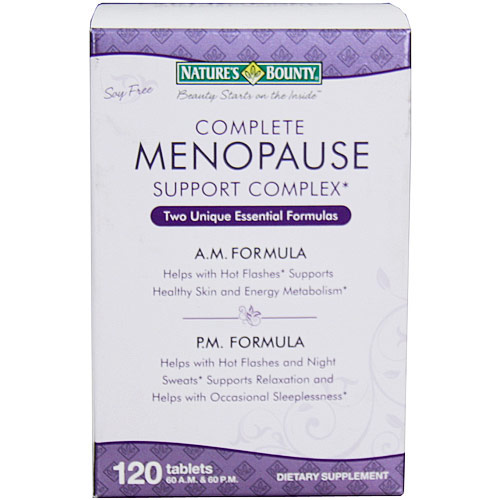 Complete Menopause Support Complex, AM & PM Formulas, 120 Tablets (60 A.M. & 60 P.M.), Natures Bounty