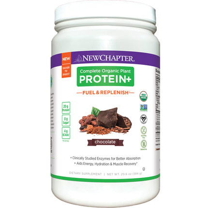 Complete Organic Plant Protein+, Fuel & Replenish Chocolate, 584 g, New Chapter