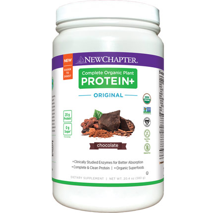 Complete Organic Plant Protein+, Orginal Chocolate, 580 g, New Chapter