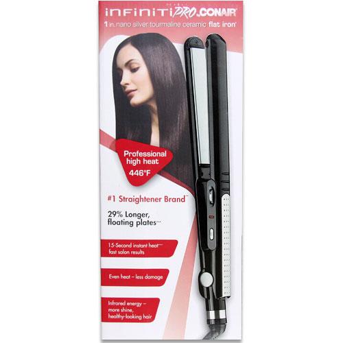 Conair Infiniti Pro Flat Iron, Hair Straightener, 1 Inch Nano Silver Tourmaline Ceramic