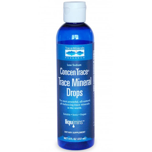Low Sodium ConcenTrace Trace Mineral Drops, Glass Bottle, 4 oz, Trace Minerals Research