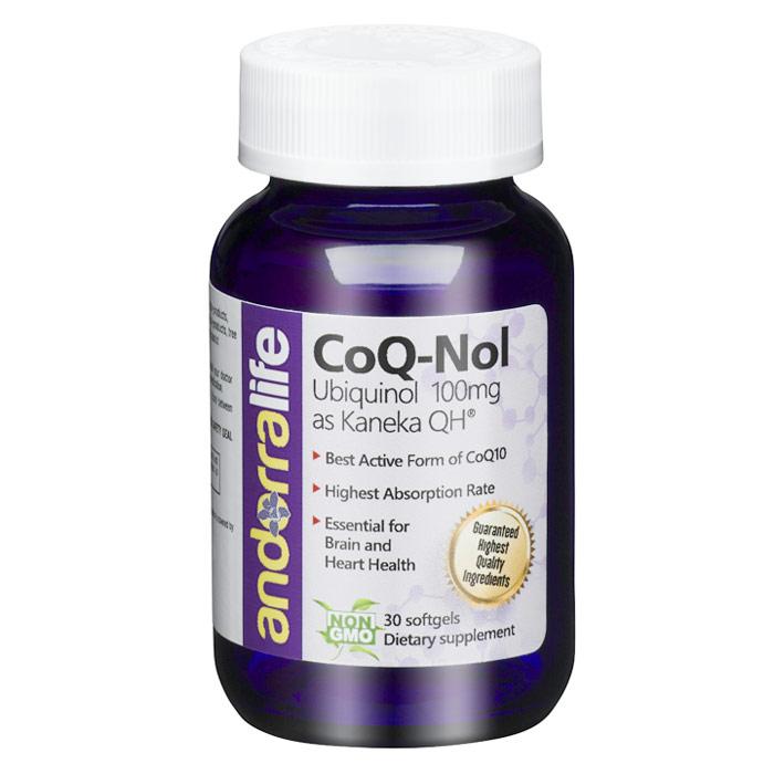CoQ-Nol, Ubiquinol 100 mg, 30 Softgels, Andorra Life