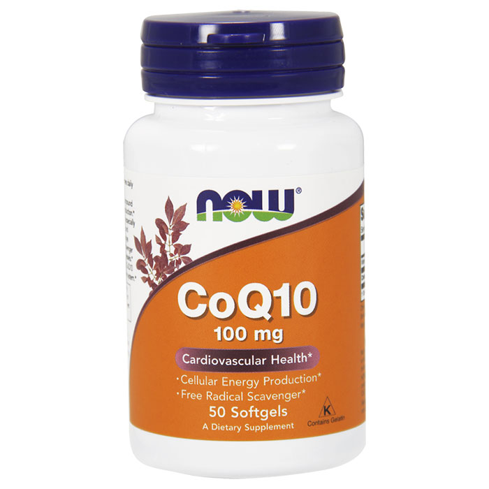 CoQ10 100mg with Vitamin E 50 Softgels, NOW Foods