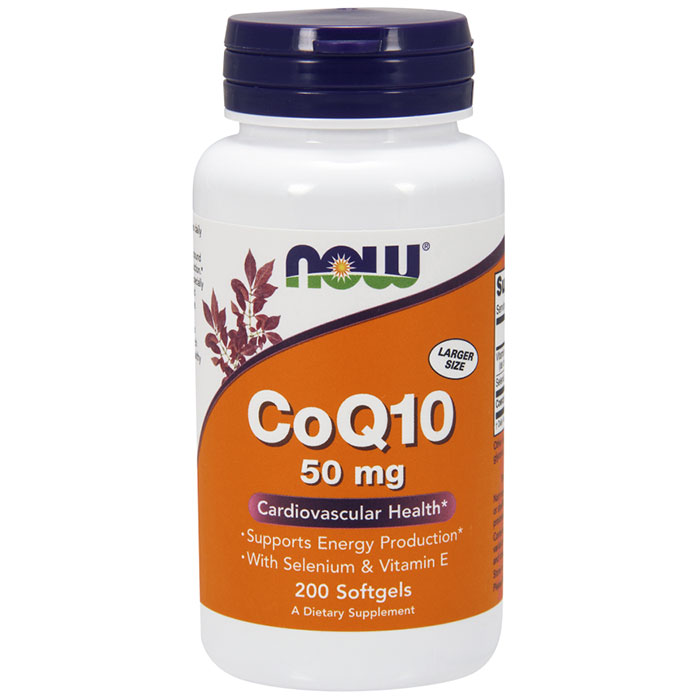 CoQ10 50 mg, With Selenium & Vitamin E, Value Size, 200 Softgels, NOW Foods