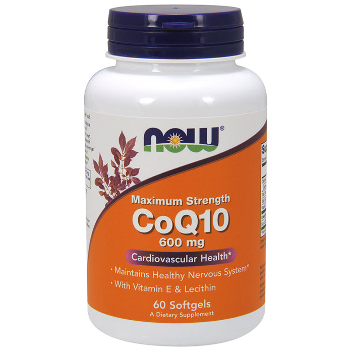 CoQ10 600 mg Maximum Strength, 60 Softgels, NOW Foods