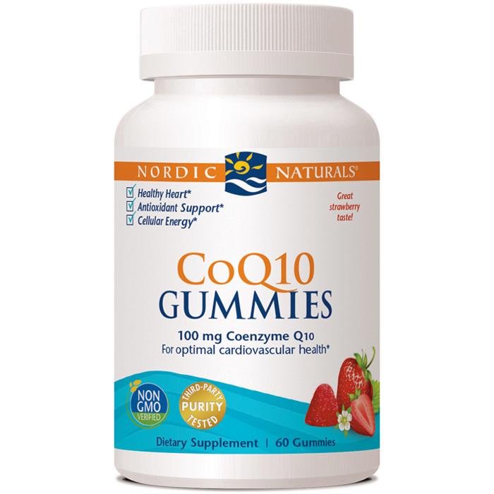 CoQ10 Gummies - Strawberry, 100 mg Chewable Coenzyme Q10, 60 Gummies, Nordic Naturals