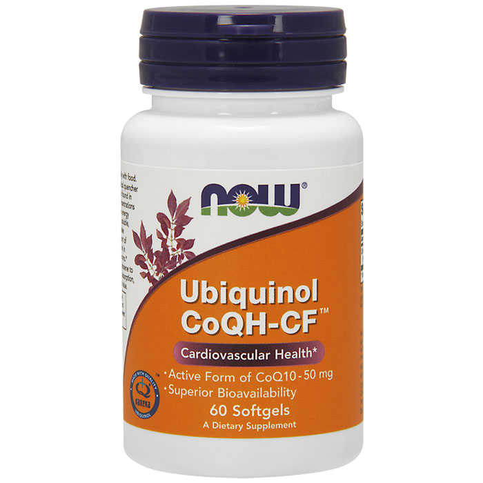 Ubiquinol CoQH-CF 50 mg, 60 Softgels, NOW Foods