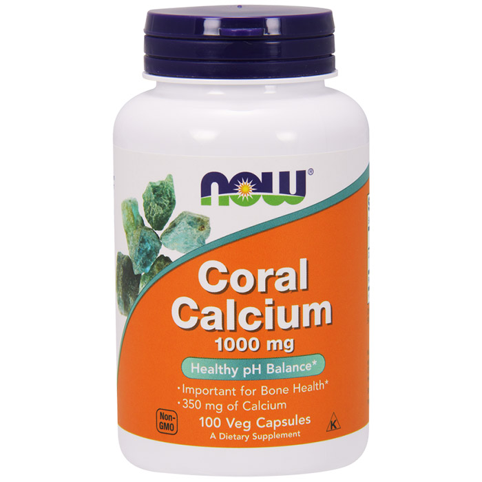 Coral Calcium 1000mg 100 Vcaps, NOW Foods