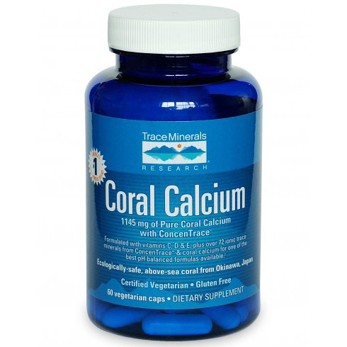 Coral Calcium with ConcenTrace, 60 Vegetarian Capsules, Trace Minerals Research
