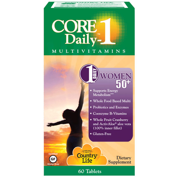 Core Daily-1 MultiVitamins for Women 50+, 60 Tablets, Country Life