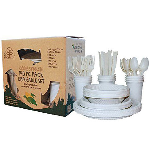 Corn Starch - Disposable Cutlery Set Natural, 140 pc, EcoSouLife