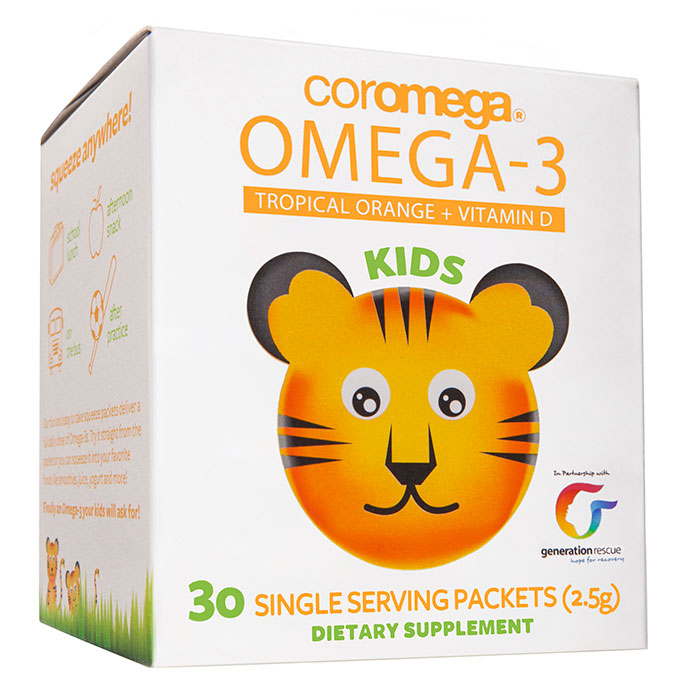 Coromega Kids Omega-3 Squeeze Packet - Tropical Orange +D, 30 Packets