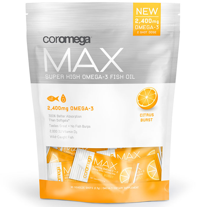 Coromega Max Super High Omega-3 Fish Oil Squeeze Shots - Citrus Burst, 60 Packets