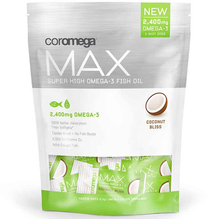 Coromega Max Super High Omega-3 Fish Oil Squeeze Shots - Coconut Bliss, 30 Packets