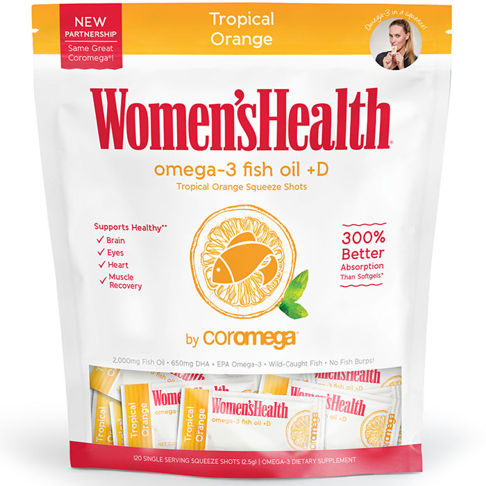 Coromega Omega-3 +D Squeeze Packet - Tropical Orange, Value Size, 120 Packets