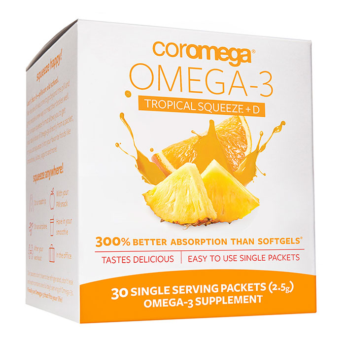 Coromega Omega-3 +D Squeeze Packet - Tropical Orange, 30 Packets