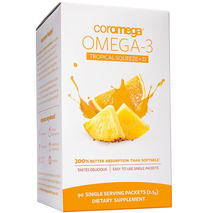 Coromega Omega-3 +D Squeeze Packet - Tropical Orange, 90 Packets