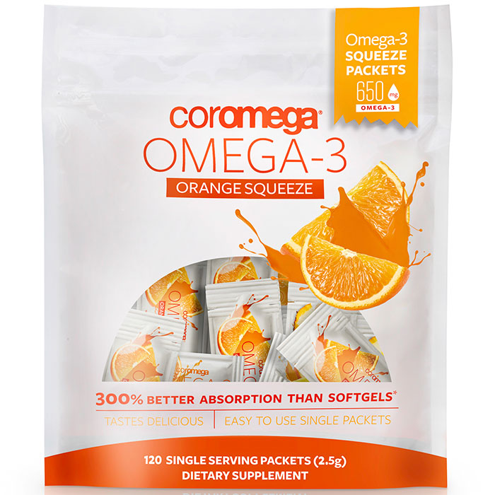 Coromega Omega-3 Squeeze Packet - Orange Smoothie, Value Size, 120 Packets