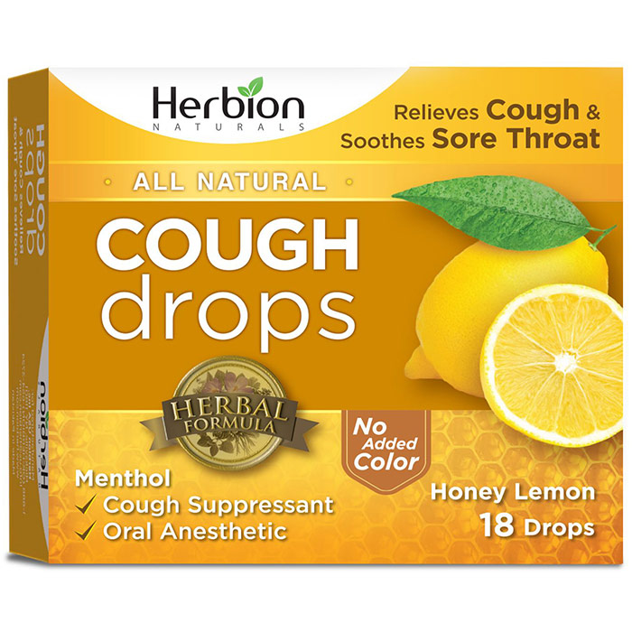All Natural Cough Drops, Honey Lemon, 18 Drops, Herbion