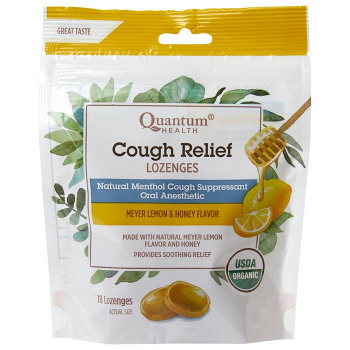 Cough Relief Lozenges - Meyer Lemon Honey, 18 Lozenges, Quantum Health