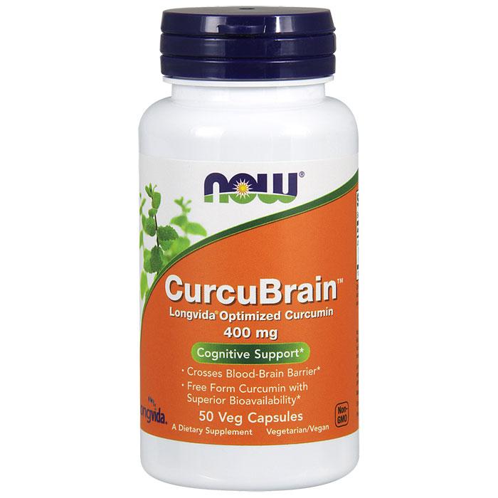 CurcuBrain 400 mg, Longvida Optimized Curcumin, 50 Vegetarian Capsules, NOW Foods